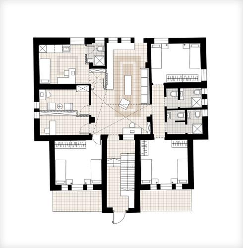 תוכנית קומת הכניסה של המבנה הראשי (תוכנית: סטודיו A3)