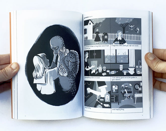 מימין: קומיקס של נועה שניר. משמאל: שירז פומן (צילום: עומר הופמן)