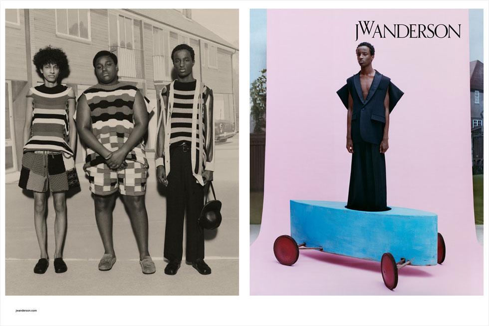קמפיין הגברים של המעצב ג'ונתן אנדרסון מציב שורה של גברים שחורים בבגדי המותג, בדיון על גבריות, דנדיות, גזע ומגדר. התוצאה היא אחד הקמפיינים החשובים והפוליטיים (הגוף הגברי השחור הוא הרי זירה פוליטית) וגם הפיוטיים של העונה