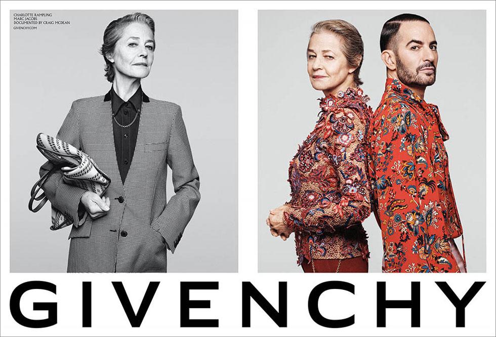 נדיר לפגוש מעצבי אופנה המככבים בקמפיינים מתחרים. בית האופנה ז'יבנשי הוא היחיד שמלהק בשנית מעצבים מבחוץ כדוגמנים, מהלך שמצביע על ביטחון עצמי. בעבר היתה זו דונטלה ורסאצ'ה שתרמה את פניה למותג, כעת זהו מארק ג'ייקובס בצילומים יפהפיים של קרייג מקדין עם השחקנית שרלוט רמפלינג