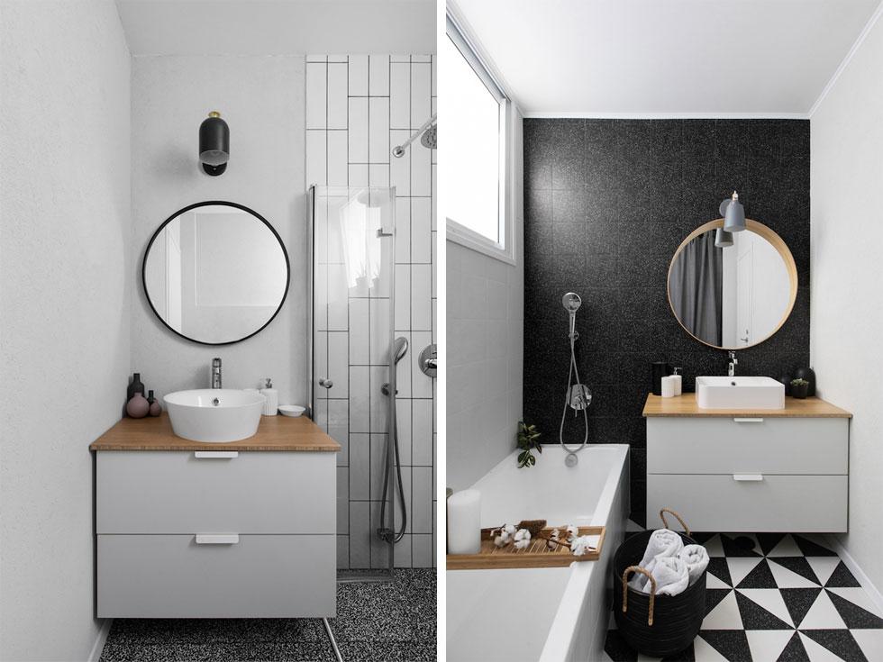 שני חדרי הרחצה, המרכזי (מימין) והזוגי, עוצבו בשחור-לבן. בני הזוג הרכיבו לבד את הכלים הסניטריים, צבעו את הקירות ומילאו רובה בין האריחים (צילום: שירן כרמל)