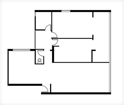 תוכנית הדירה לפני השיפוץ (תוכנית: שרית זיו אלון)