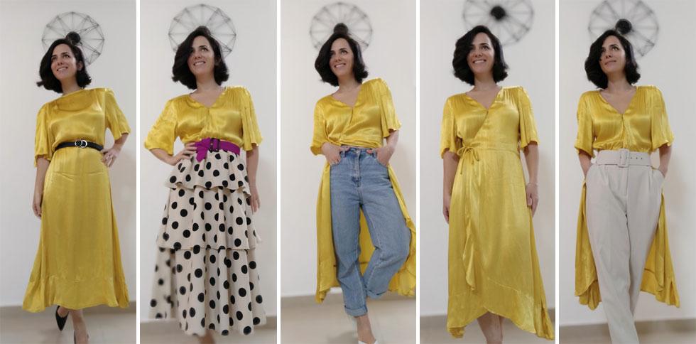 """""""הארון שלי לא גדול: שני מדפים קטנים ומדף תלייה פצפון, שבלחץ אורכו הוא חצי מטר. ועדיין, לא מיציתי את השילובים שאני מייצרת"""". חמש דרכים ללבוש שמלת מעטפת צהובה (צילום: short_girls_doit_better@)"""