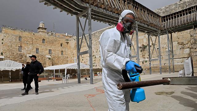 חיטוי הכותל המערבי  (צילום: AFP)