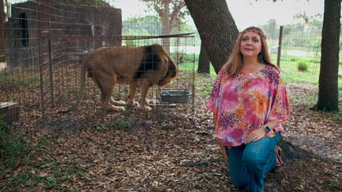 """""""בגדים מנומרים הם כמו מדים בשבילי"""". קרול בסקין (צילום: מתוך netflix.com)"""