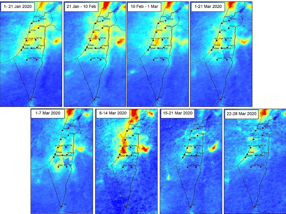 השינוי ברמות זיהום האוויר (צילום: קופרניקוס סניטל)