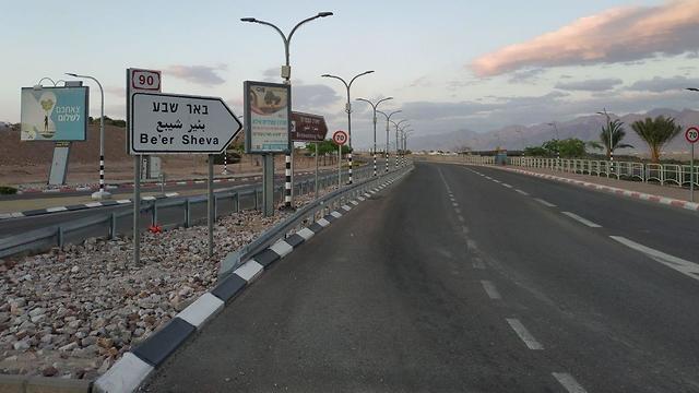 כבישים ריקים באילת בצל הקורונה (צילום: מאיר אוחיון)