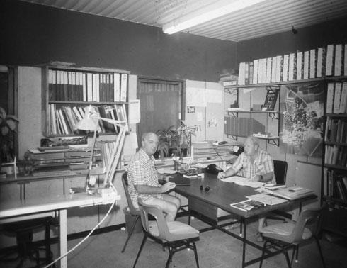 בבית העמק הוא החל לתכנן, והשתלב בתפקידים מרכזיים בעשייה התכנונית בקיבוצים בכל הארץ (צילום: אוסף פרטי של פרדי כהנא)