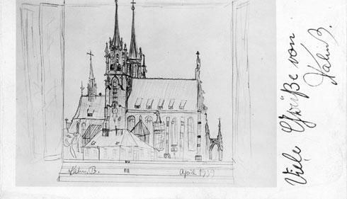 הקתדרלה של ברנו, עיר ילדותו, כפי שצייר אותה בגיל 11. זמן קצר לאחר מכן יעזוב את העיר ואת הוריו. את הציור שומר כהנא עד היום (צילום: אוסף פרטי של פרדי כהנא)