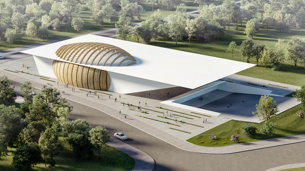 ההצעה הזוכה של האדריכל דוד נופר: הביצה שמצבצבת בגג היא אולם המופעים. ואיך הוא ממוגן? הסבר בכתבה (הדמיה: ניר לוי, גרי קרוגלוב)