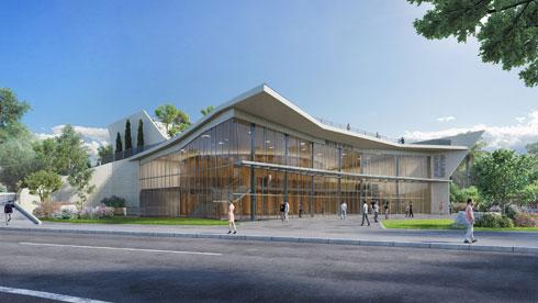 שקיפות מלאה אל פנים הבניין, בדומה לאולמות גדולים שנבנו בישראל (הדמיה: פוגל שהם אדריכלים בשיתוף עם גלפז אדריכלים)