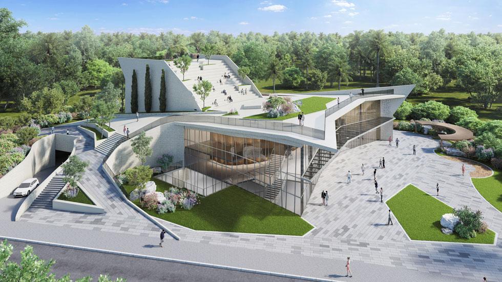 הצעה שלא זכתה: פוגל שהם בשיתוף גלפז אדריכלים שיקעו חלק מהבניין בקרקע, כשטריבונות ישיבה על הגג מאפשרות תיאטרון פתוח (הדמיה: פוגל שהם אדריכלים בשיתוף עם גלפז אדריכלים)