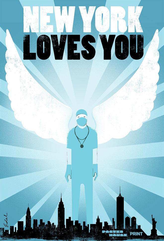 אדל רודריגז מביע הערכה לצוותים הרפואיים שמצילים את ניו יורק (Courtesy of Poster House and Times Square Arts)