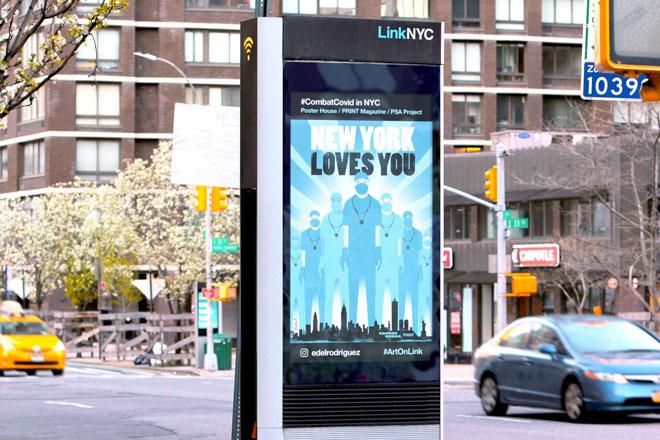 והנה הפוסטר בעיר. אחד מ-1,800 מסכים ברחבי ניו יורק (Photo by Ian Douglas, Courtesy of Poster House and Times Square Arts)