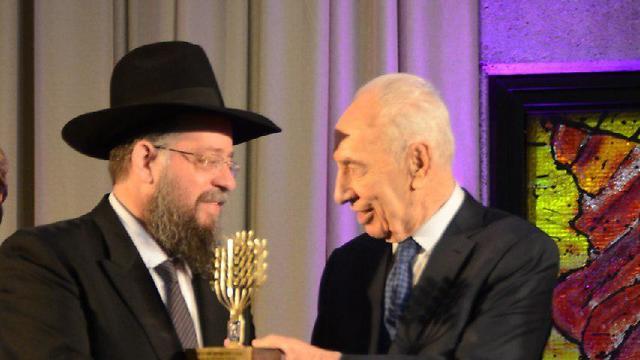 הרב ישעיהו הבר בטקס אות הנשיא למתנדב, 2014 (צילום: באדיבות