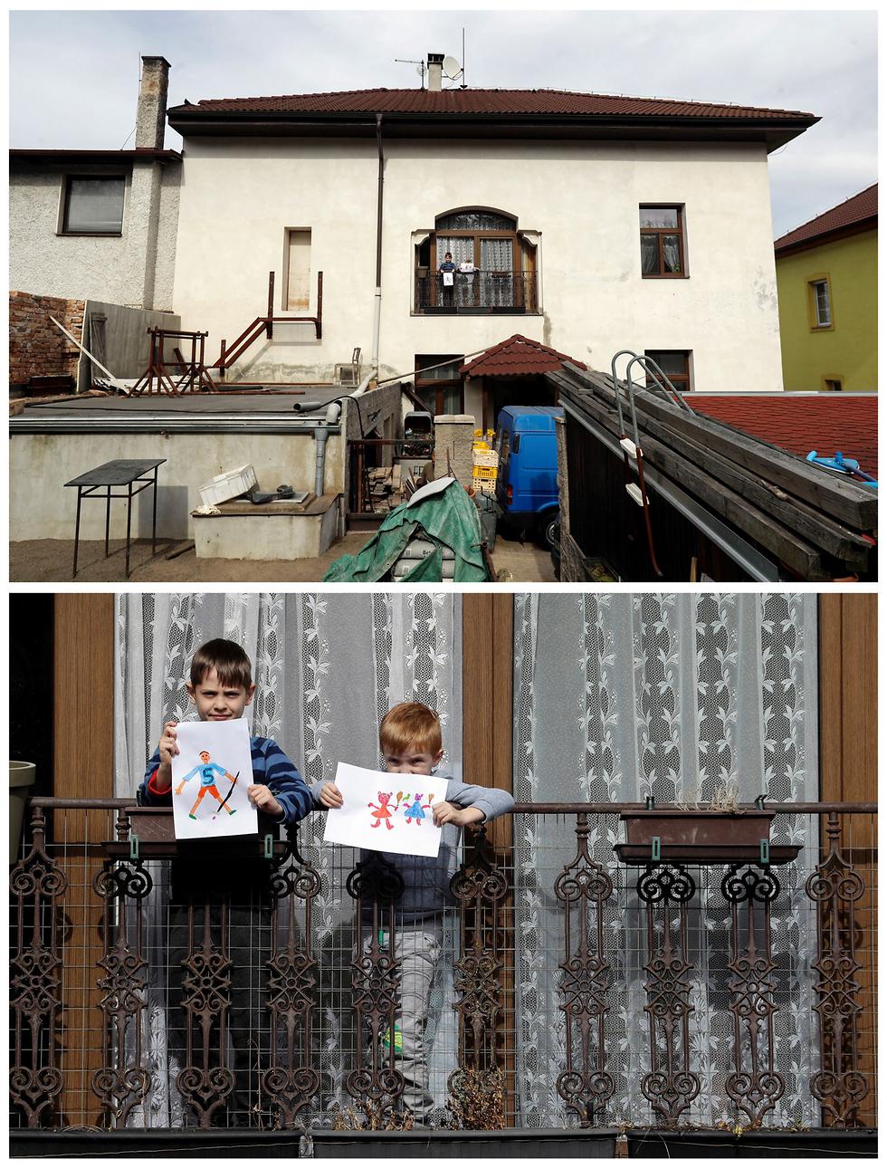 מרפסת מרפסות ילדים מרחבי העולם מציירים נגיף קורונה (צילום: רויטרס)