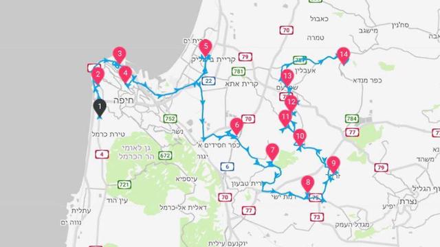 דוגמה למסלולי נסיעה באפליקציה ()