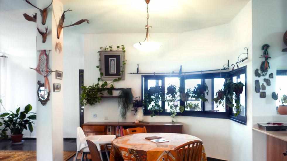 לפני: פינת האוכל בבית שכור בעתלית, שנבנה בשנות ה-80. הרקע לבן, ועל מוטות הווילונות נתלו דווקא עציצים (צילום: רינת טל)