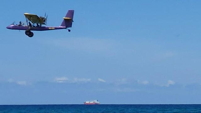 המטוס הקל זמן קצר לפני ההתרסקות ליד יקום ()