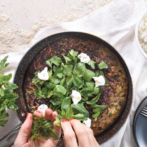פריטטת אורז, גבינה וירוקים  (צילום: דניאל לילה, טליה הדר)