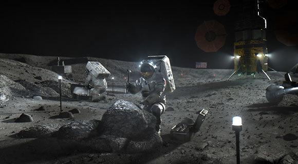 """המטרה העיקרית: מחקר על שימוש במשאבים מקומיים לצורך שהות ארוכה. אסטרונאוטים של ארטמיס על הירח (הדמיה: נאס""""א)"""