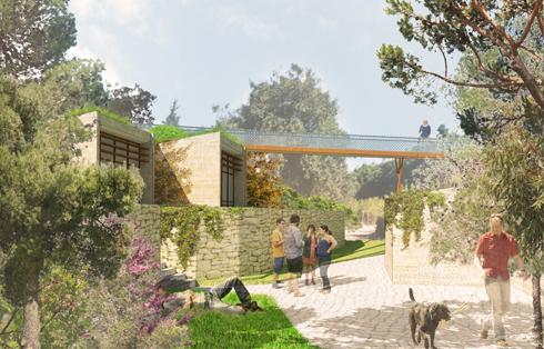 """פוסעים בשבילים בין המבנים של כרמי-מלמד (הדמיה: עדה כרמי מלמד אדריכלים בע""""מ)"""