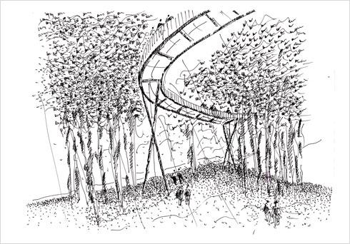 """שביל עילי שמוביל למבני המגורים (הדמיה: עדה כרמי מלמד אדריכלים בע""""מ)"""