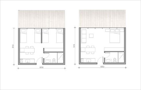 """תוכנית של בקתות מגורים, חלק מסוגי הבקתות שיהיו במתחם (הדמיה: עדה כרמי מלמד אדריכלים בע""""מ)"""