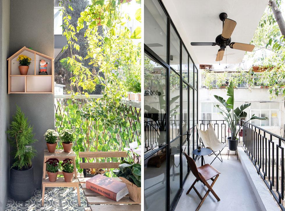 עוד 2 דוגמאות שמראות שגם כשהמרפסת צרה אפשר להפוך אותה לפינת חמד. משמאל: בעיצוב BAS אדריכלים. מימין: בעיצוב דפנה גרבינסקי (לחצו לכתבה על דירתה) (צילומים: שירן כרמל, גדעון לוין)