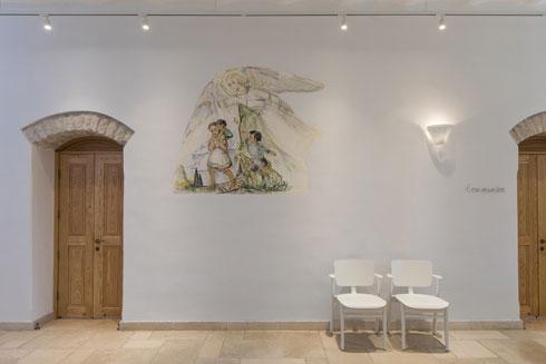 ציור הקיר באולם הכניסה. האמן אינו ידוע (צילום: שירן כרמל)