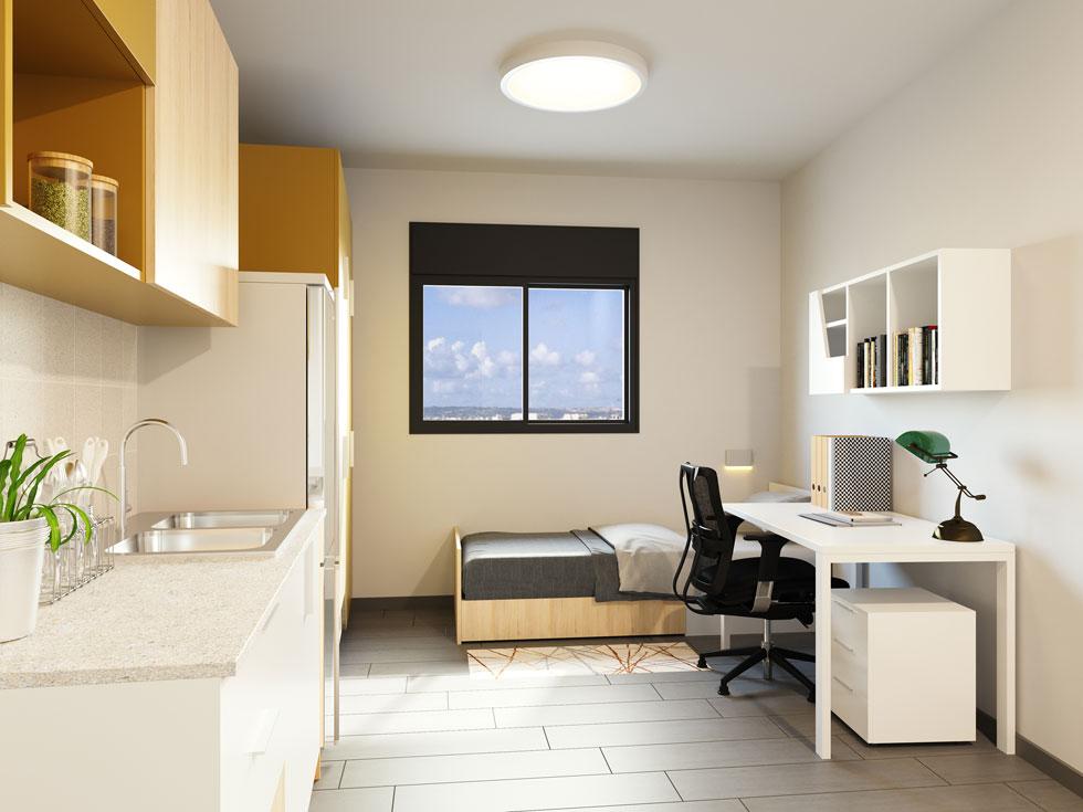 הדמיה של אחת הדירות. השטח ינוע מ-18 מ''ר ליחיד ועד 54 מ''ר למשפחה (הדמיה: Ddesign 3)