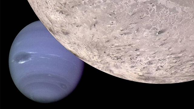 טריטון ונפטון (הדמיה). לפי ההשערות, טריטון הגיע מחוץ למערכת השמש ונלכד בשדה הכבידה של נפטון (הדמיה: נאס