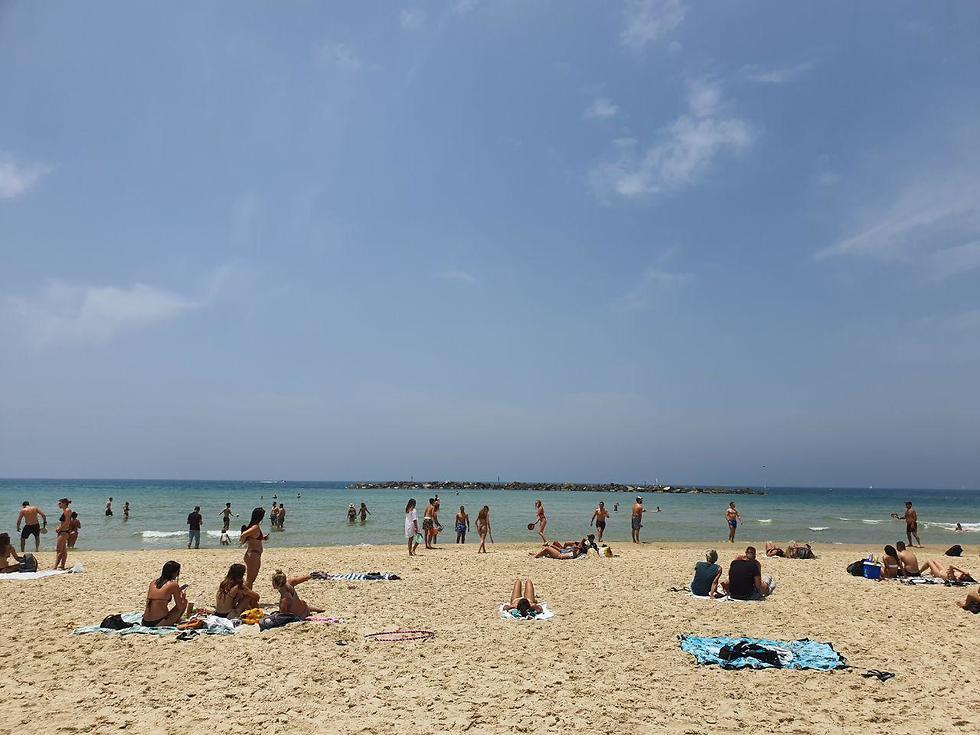 בניגוד להנחיות המוני הגיעו לחופי תל אביב (צילום: שמוליק דודפור)