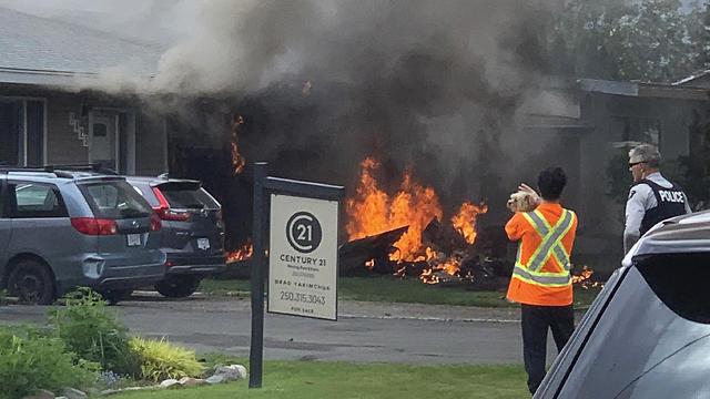 התרסקות מטוס אווירובטי בבריטיש קולומביה, קנדה (צילום: AP)