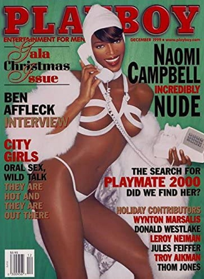 """14 עמודים, רק שלה. נעמי קמפבל על שער """"פלייבוי"""", דצמבר 1999 (צילום מסך)"""
