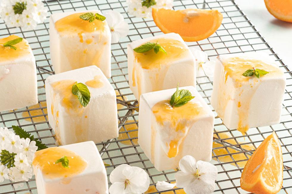 מקפא גבינה ברוטב תפוזים ללא גלוטן (צילום: שרית גופן, סגנון: עמית דונסקוי)