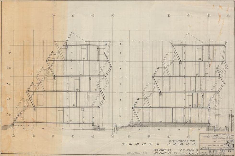 החתך מוצר ככל שעולים למעלה. בהתאמה, שטח הדירות גדול הרבה יותר בקומה הראשונה, וקטן למעלה (תוכנית: צבי הקר)