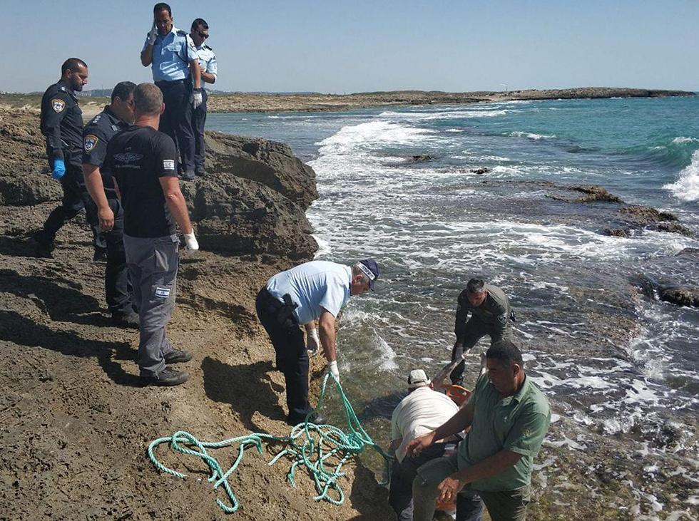 המשטרה מוציאה את הגופה מהמים (צילום: דוברות המשטרה )