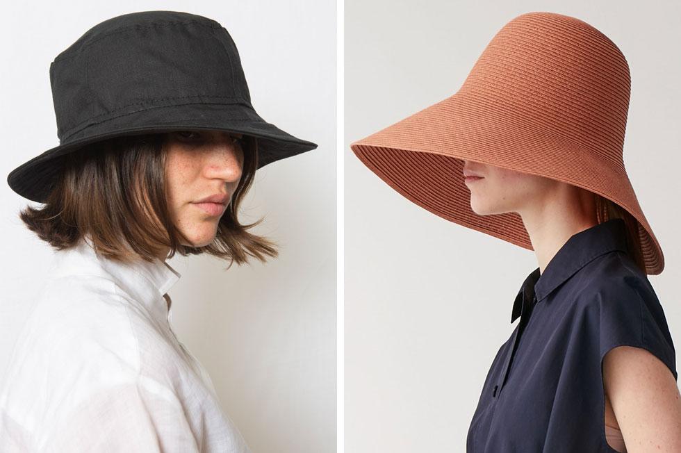 """חנויות האופנה מציעות כעת כובעים בסגנונות מגוונים. כובע של COS ב-255 שקל (מימין) וכובע של ענר שבח ב-240 שקל (צילומים: דוד חברוני, יח""""צ קוס)"""