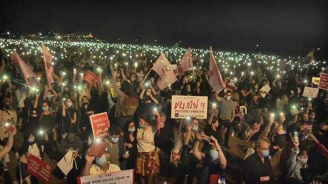 הפגנת 'מצעד הנשים' נגד האלימות כלפי נשים בצארלס קלור תל אביב (צילום: משי בן עמי)