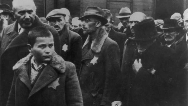 יהודים מגיעים לאושוויץ עם טלאי צהוב (צילום: Hulton Archive/Getty Images)