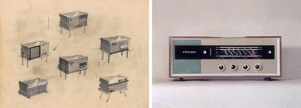 הנה, למשל, מכשירי רדיון שעיצב הסטודיו לחברת אמרון (אמקור). השמות היו עבריים למהדרין, כגון ''מגידו'' ו''רימון'' (אוסף גולדרייך דה שליט, ארכיון אדריכלות ישראל)