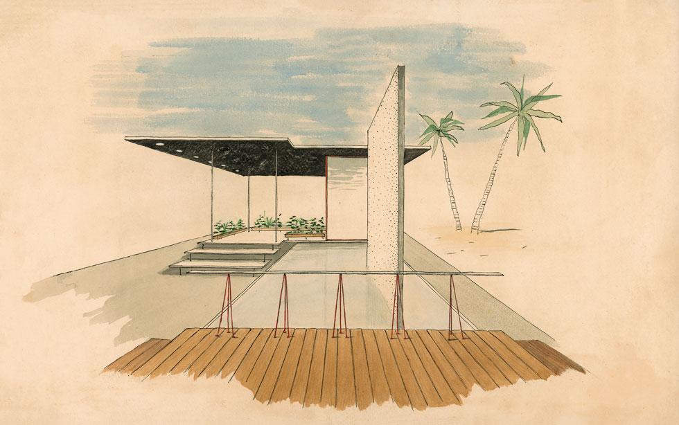תרגיל בתכנון בית-קיץ בישראל. עבודה שלה בלונדון, ראשית שנות ה-50 (אוסף גולדרייך דה שליט, ארכיון אדריכלות ישראל)