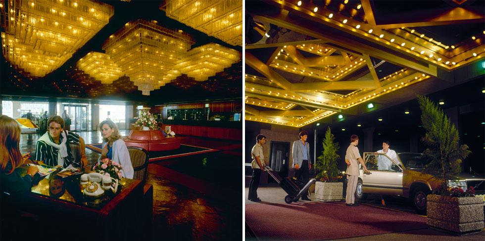 מלון שרתון בתל אביב זכה אף הוא למגע היד של דה שליט. אנטיתזה לבתי המלון הברוטליסטיים של שנות ה-70, בסטנדרט של מלונות יוקרה במערב ללא יומרה להציג ייחודיות מקומית (צלם לא ידוע, אוסף גולדרייך דה שליט, ארכיון אדריכלות ישראל)