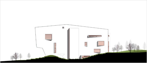 החזית לרחוב רמז (תוכנית: מייזליץ כסיף אדריכלים)