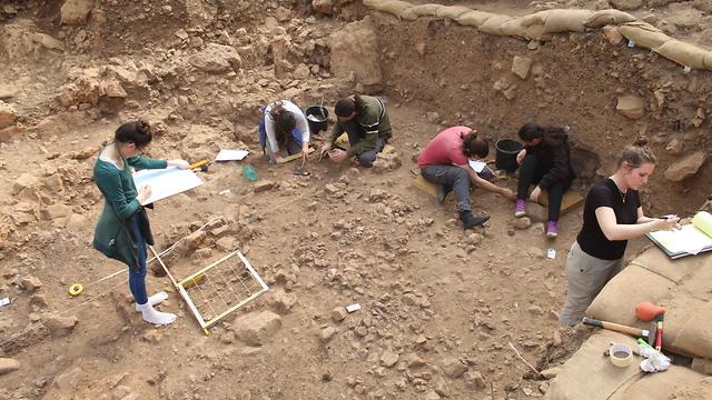 חפירות מפלס מגורים נטופי במערת הנחל (צילום: ראובן ישורון)