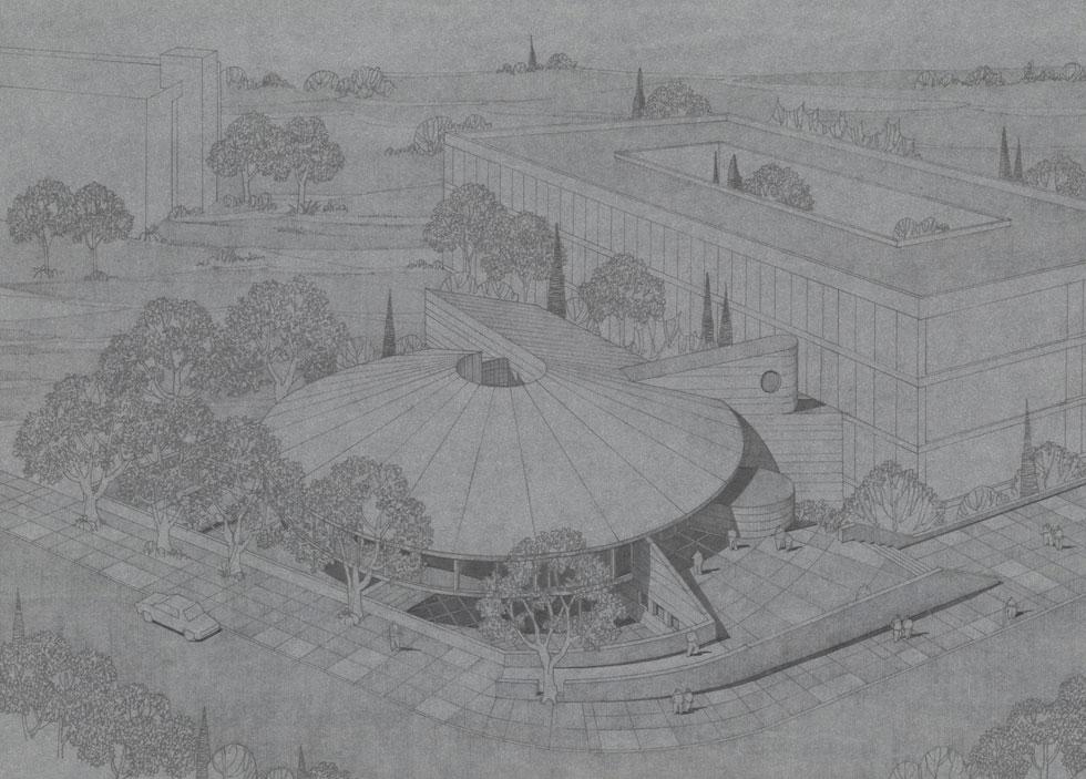 התכנון המקורי. אמנון רכטר, בנו של יעקב רכטר, מצטער שמכון ויצמן בחר לא להשלים את הגג המקורי, שהיה אמור לקבל מעטפת מתכת בוהקת (באדיבות RECA-ארכיון מרכז רכטר לאדריכלות)