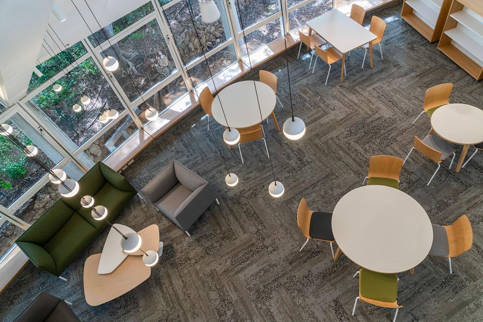 מבט מקומת הגלריה למטה. מטבח בכל קומה כמו בחברת הייטק, אבל עיצוב מאופק בהרבה (צילום: עוזי פורת)