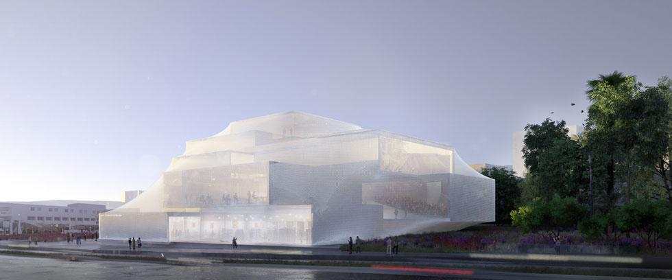 ''ההר''. ההצעה של המשרד הצעיר AN+ (נתנאל אלפסי ואביטל גורארי) עוטפת את הבניין ברשת ברזל המחברת סדרה של קופסאות למופע אחד