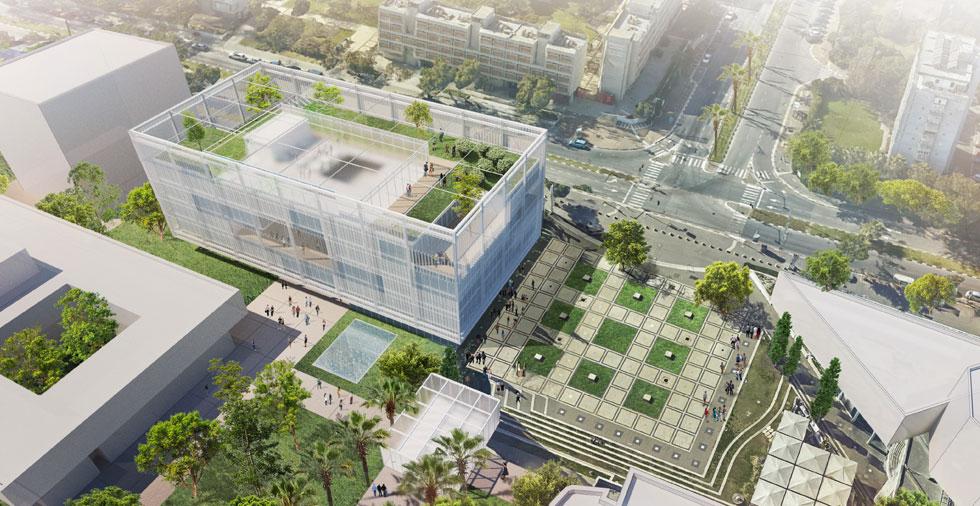 גג ירוק לשימוש כל הסטודנטים באוניברסיטה, מעטפת רפפות, ופטיואים ירוקים שמפוזרים בקומות בית הספר. ההצעה של ציונוב ויתקון